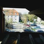 Tag 2: Das erste Loch im Dachgeschoss. Blick auf den St.-Georg-Platz