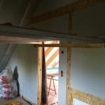 Gerüst in den Zimmern, damit Decke erreicht werden kann